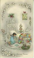 VINTAGE CHRISTMAS GIRL PRAYING WHITE BED QUILT CAT  KITTEN GOD CARD ART PRINT