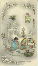 VINTAGE CHRISTMAS GIRL PRAYING WHITE BED QUILT CAT  KITTEN GOD CARD ART PRINT
