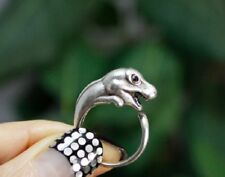 T Rex Dinosaur Animal Ring Adjustable Silver Finger Wrap Ring Size 5 to 7