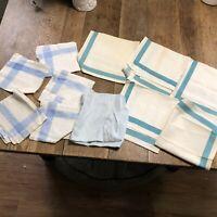 Vintage napkins blue shades damask and modern set of 10