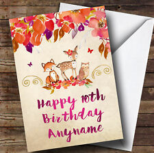 Bright Floral Woodland Animal Personalised Children's Birthday Card