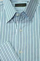 Joseph Abboud Men's Light Blue & Slate Stripe Cotton Dress Shirt 16.5 x 35