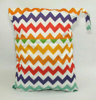Large Cloth Mama Wet Bag for Nappies, Wipes, Cloth Sanitary Pads, CSP - Rainbows