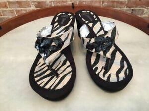 J Renee Treasure Black Zebra Beaded Thong Wedge Sandals 8.5 New