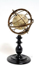 "Brass Armillary Sphere Globe 16.5"" Rosewood Base Antiqued Finish Table Top New"