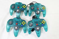 Fully Tested Lot of 4 Original Nintendo 64 Controller Pad Ice Blue Tight stick
