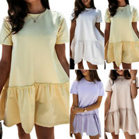 Womens Summer V Neck Smock Dress Ladies Holiday Beach Ruffle Frill Mini Dresses