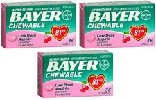 3 Pack Bayer Chewable Low Dose Child Aspirin 81mg Tablets Cherry 36 Tablets Each