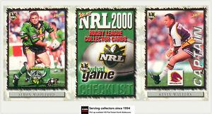 2000 Select Inaugural NRL Trading Card Full Base Set (121)- Rare