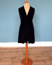 Vintage 80's Black Velvet Look Dress Retro Boho Goth 10