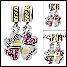Mother Daughter Charm Beads Pandora Jewelry Bracelet Mom Love Silver Hearts NEW