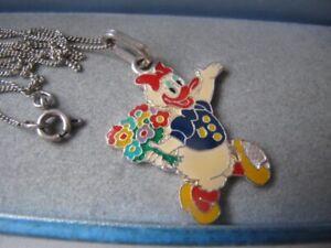 Vintage DISNEY 800 / 835 SILVER Daisy Donald Duck Enamel Rare Chain Necklace 6g