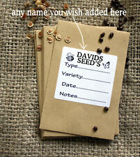 20 Personalised Seed Saving Packets / Envelopes + Gummed Seal + Any Name Added