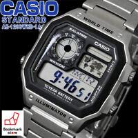 NEW CASIO STANDARD Silver Men's DIGITAL AE-1200WHD-1A / World Time Sports Alarm