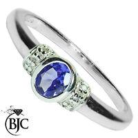 Bjc 9Ct Oro Blanco Tanzanita y Diamante Solitario Talla P Anillo de Compromiso