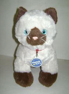 "BUILD A BEAR Promise Pets SIAMESE IVORY BROWN CAT PLUSH STUFFED 13"" RARE"