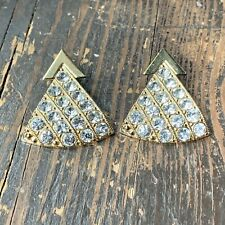 Vintage ZOE COSTE Couture France Rhinestone Earrings Clip