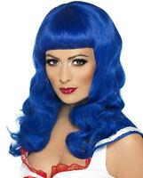 Blue California Girl Long Wavy Katy Costume Wig with Bangs