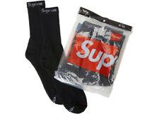 Supreme x Hanes Black Socks (4-pack) Size 6-12 - Stickers included