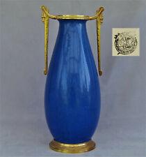 BOCH Frères La Louvière Grand Vase Céramique Craquelée Bleue et Bronze ca 1930