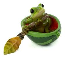 Miniature Fairy Garden Figurine ~ Mini Frog Rowing Watermelon Boat