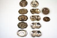 Lot of 12 Vintage Occupied Japan Metal Silver Souvenir Ashtray Destination Trays