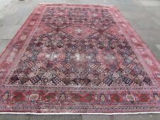 Shabby Chic Worn Vintage Hand Made Traditional Blue Wool Large Carpet 360x269cm