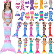 Girls Swimmable Mermaid Tail Bikini Set Kids Swimwear Swimming Costume Beachwear