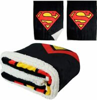 DC Comics Licensed Superman Man of Steel Logo Thick Micro Sherpa Throw Blanket