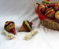 2 Mexican Classic Wooden Spin Tops / Trompo de Madera (Assorted Colors)