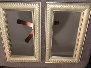 Two Small Rectangle Decorative Gold Mirrors