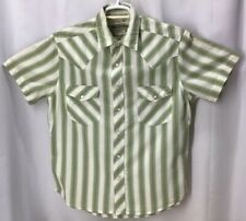 Arizona Pearl Button cowboy Style Short Sleeve Striped Green Size M