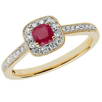 9ct Yellow Gold Cushion Ruby & 24pt Diamond Cluster Shoulder Detail Ring *RD412R