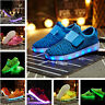 New Kids Boys Girls LED Shoes Light Up Lace Up Luminous Trainers Casual Sneakers
