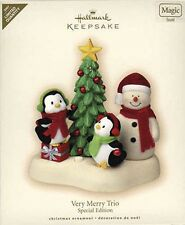 2007 Hallmark VERY MERRY TRIO Magic Ltd Ed Ornament SNOWMAN, PENGUIN *Priority