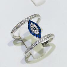 Platinum Sterling Silver Blue Sapphire Eternity Pave Evil Eye Design Ring Sz9
