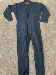 Mens Red Kap Navy Blue Long Sleeve Jumpsuit Size L