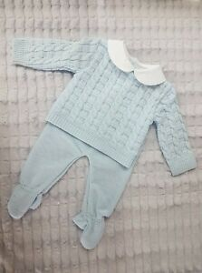 Pex Spanish Knitted Blue baby Boys 2pc Top and Pants Set - Francis