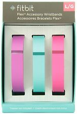 Fitbit Flex Accessory Wristbands Large Violet/Teal/Pink Package Of 3, New