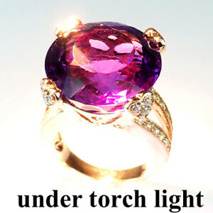 Change Purple Amethyst 20.80 Ct. 925 Sterling Silver Rose Gold Ring Size 6.5