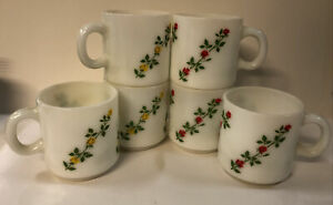 6 Vintage Milk Glass Coffee Mugs 3 Red Rose 3 Yellow Cups Anchor Hocking