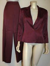 CAROLINA HERRERA Plum Wine Wool Silk Pant Suit 8 Jacket Evening Couture Wide Leg