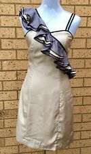 Cue Dress Designer Unique Shoulder Ruffles Cocktail Evening Dinner Party Size 6