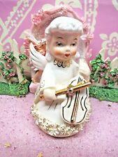 Vtg Butter Creme Yellow Christmas Caroling Angel W Violin Fine A Quality Japan