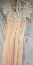 Vintage1900's Apricot Cotton Nightgown Hand Embroidered Bodice Ribbon Tie Close