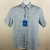 NWT Toscano Mens Blue S/S Casual Button Shirt Sz Medium M
