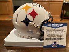 Terry Bradshaw Signed Pittsburgh Steelers AMP Mini Helmet Witness Beckett