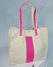"NEW Pink Stripe CANVAS TOTE Grocery Beach School Book Bag Purse 16"" Color Dunes"