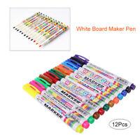 12 Basic white board whiteboard marker pens dry erase easy wipe round bullet tip