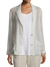 Eileen Fisher Notch Collar Linen Mesh Blazer Jacket Plus 2X Natural $298
